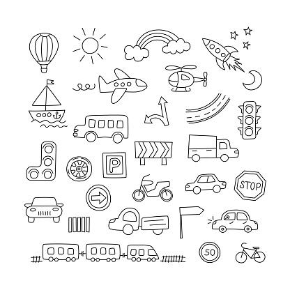 Children drawing of cars, train, plane, helicopter and rocket. Doodle transport.