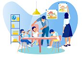 Mother and Father Spending Time with Little Kids, Children Drawing Sitting at Table, Woman Hanging Picture on Wall, Man Communicating with Babies. Kindergarten Class Cartoon Flat Vector Illustration