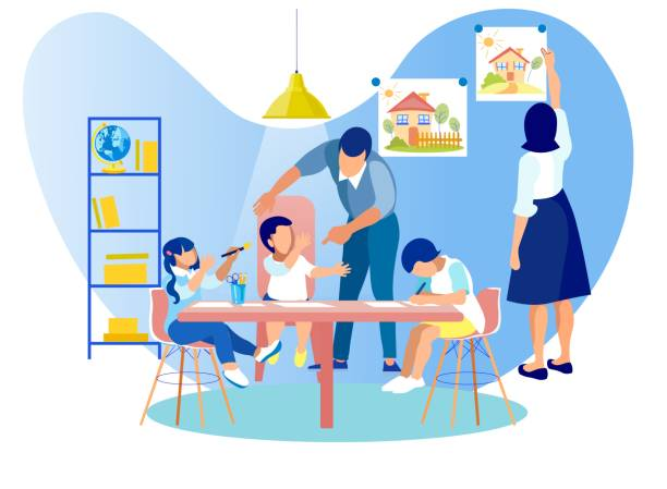 Children Drawing Sitting at Table in Kindergarten Mother and Father Spending Time with Little Kids, Children Drawing Sitting at Table, Woman Hanging Picture on Wall, Man Communicating with Babies. Kindergarten Class Cartoon Flat Vector Illustration parenting stock illustrations