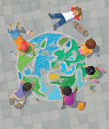 Children Drawing the World on Street