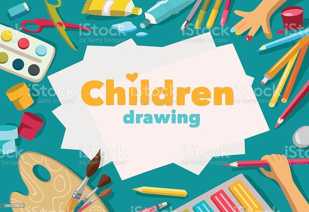 Children drawing white list background, banner vector art illustration