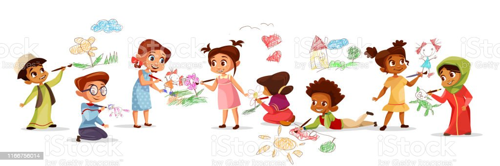 Children Drawing With Pencils Vector Illustration Of Different