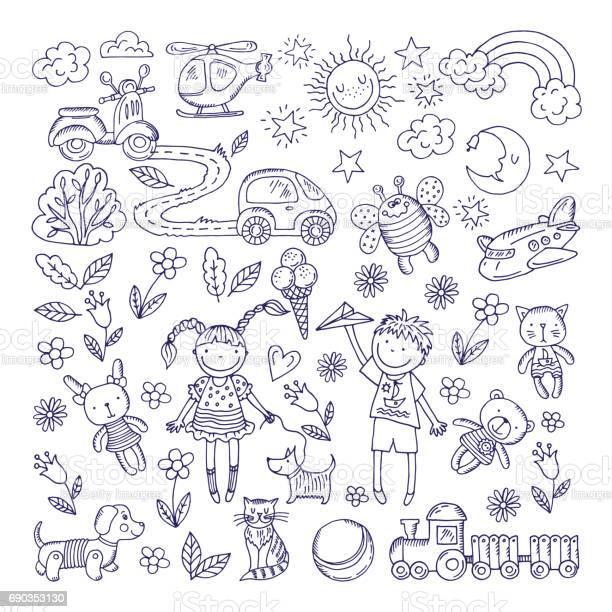 Children dreams vector hand drawn illustration of boy and girl pets vector id690353130?b=1&k=6&m=690353130&s=612x612&h=snor  hjlpifk5e cbsvdxlf49sl4kvwnyt9ukncyzc=