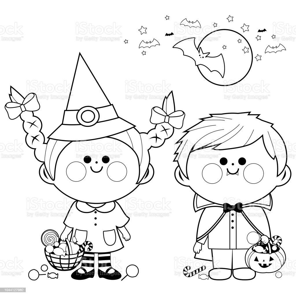 Kleurplaten Over Halloween.Kinderen Gekleed In Kostuums Van Halloween Houden Emmers Met Snoep