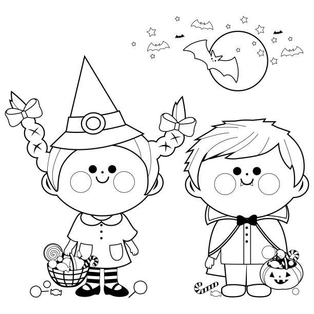 bildbanksillustrationer, clip art samt tecknat material och ikoner med barn klädd i halloween kostymer håller hinkar med godis. svart och vit färg boksida - children autumn