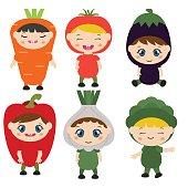 Children dressed like vegetables