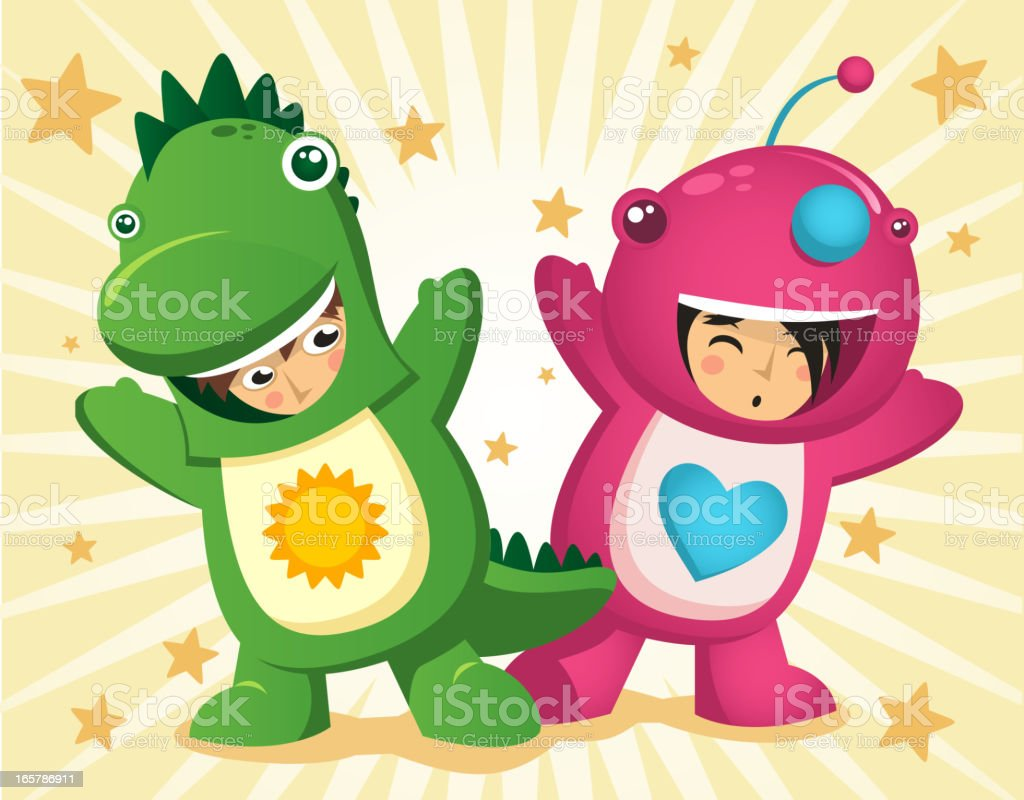 Children dressed up with dinosaur garment mascot vector art illustration