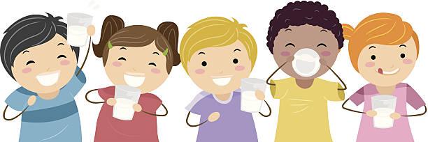Children drinking milk vector art illustration