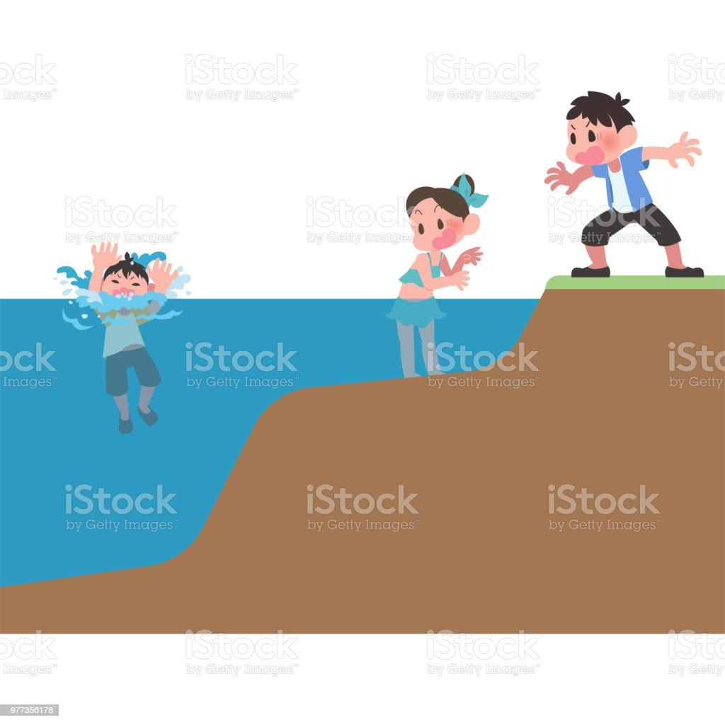 子供が川でおぼれる ベクターアートイラスト
