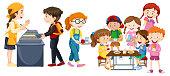 Children eating at cafeteria illustration
