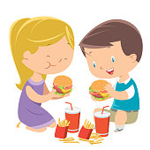 Vector Children eating hamburgers
