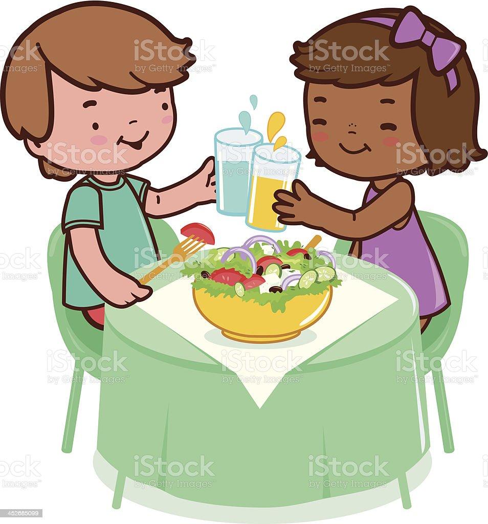 Children eating healthy food vector art illustration