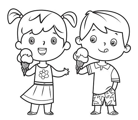 Children eating ice cream