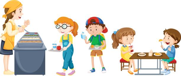 Best School Cafeteria Kids Illustrations, Royalty-Free ...