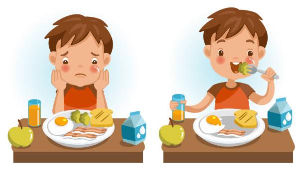 kinder essen - essen mund benutzen stock-grafiken, -clipart, -cartoons und -symbole