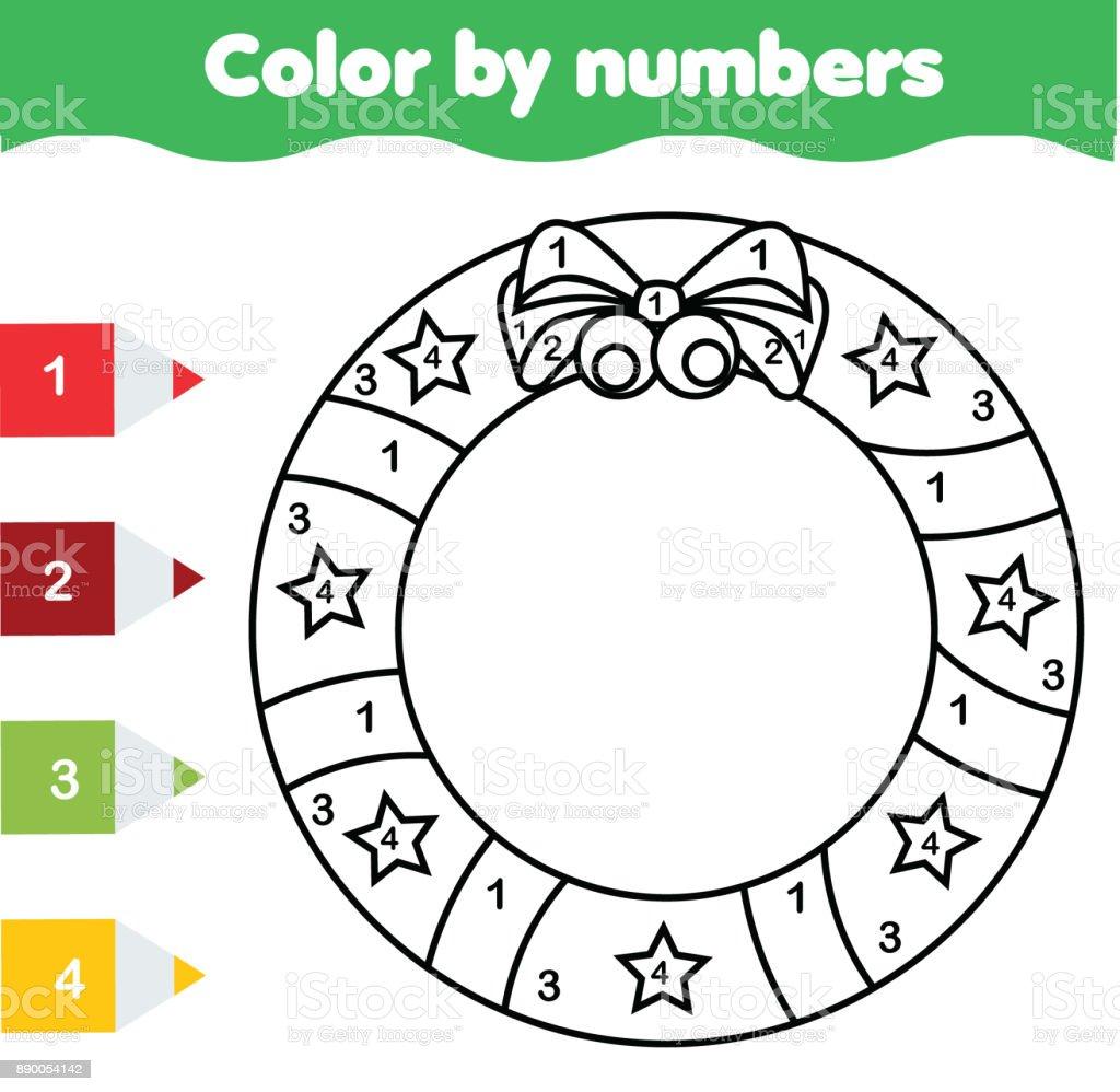çocuk Eğitim Oyunu Noel çelenk Ile Boyama Sayfası Sayılar
