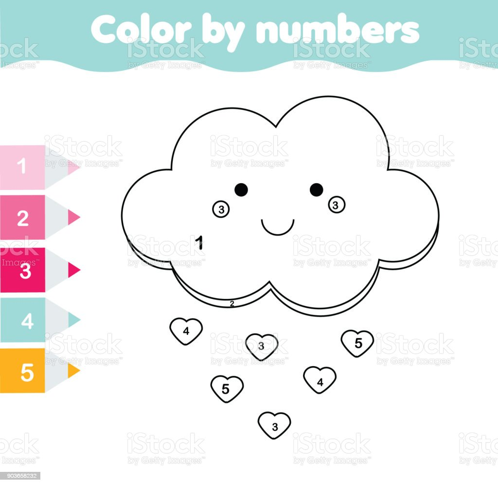 Children Educational Game Coloring Page With Cute Cloud Color By
