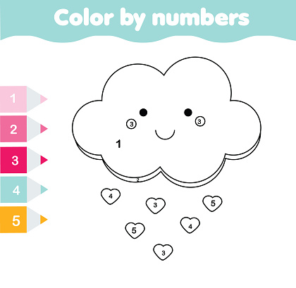 çocuk Eğitim Oyunu şirin Bulut Ile Boyama Sayfası Sayılar