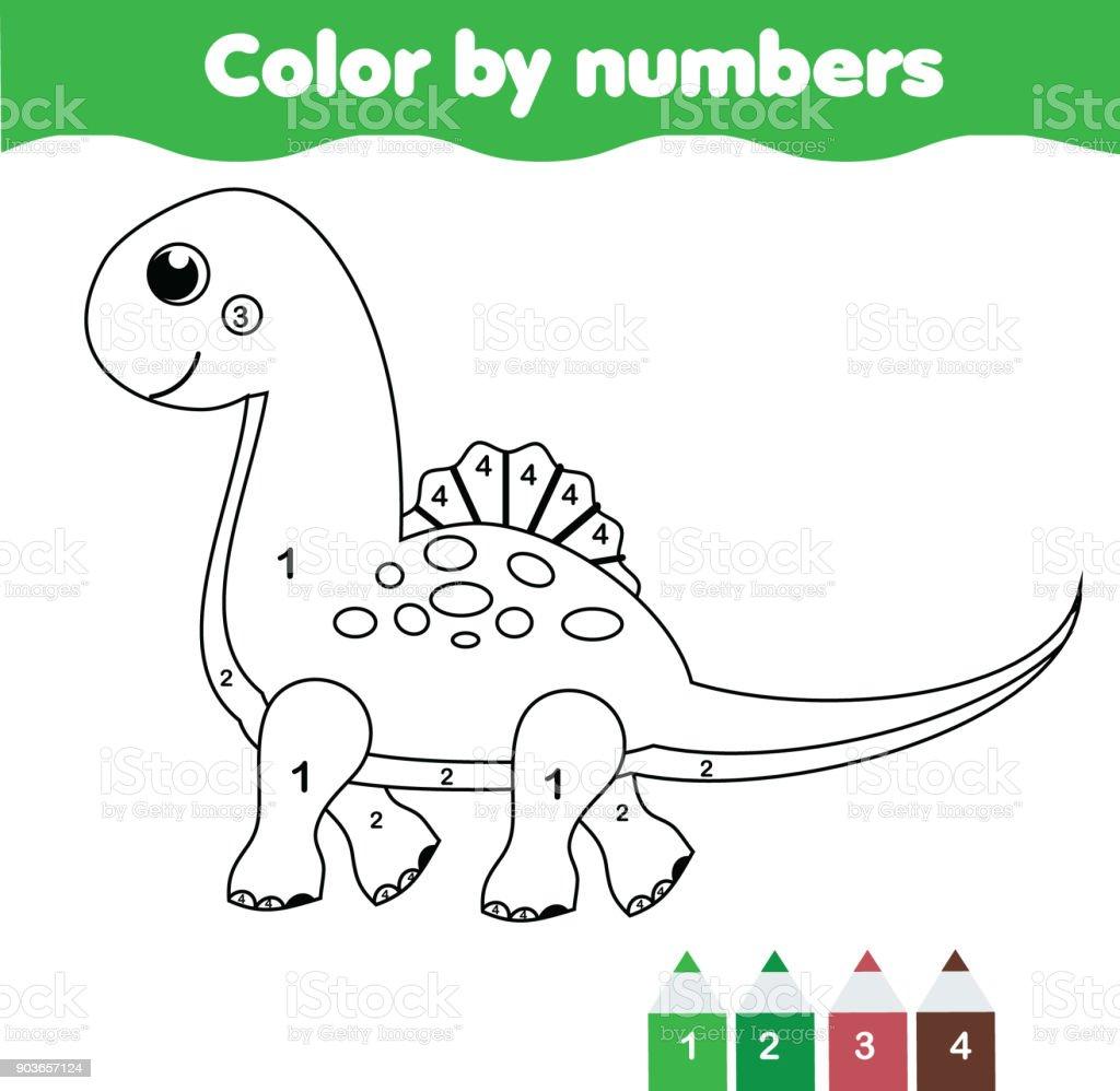 Juego Educativo De Los Niños Página Para Colorear Con Dinosaurio ...