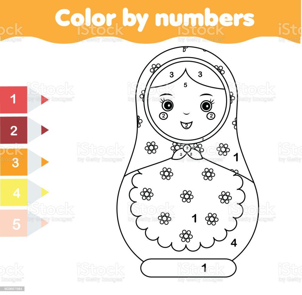 Lernspiel Für Kinder Malvorlagen Mit Matreshka Puppe Farbe Nach ...