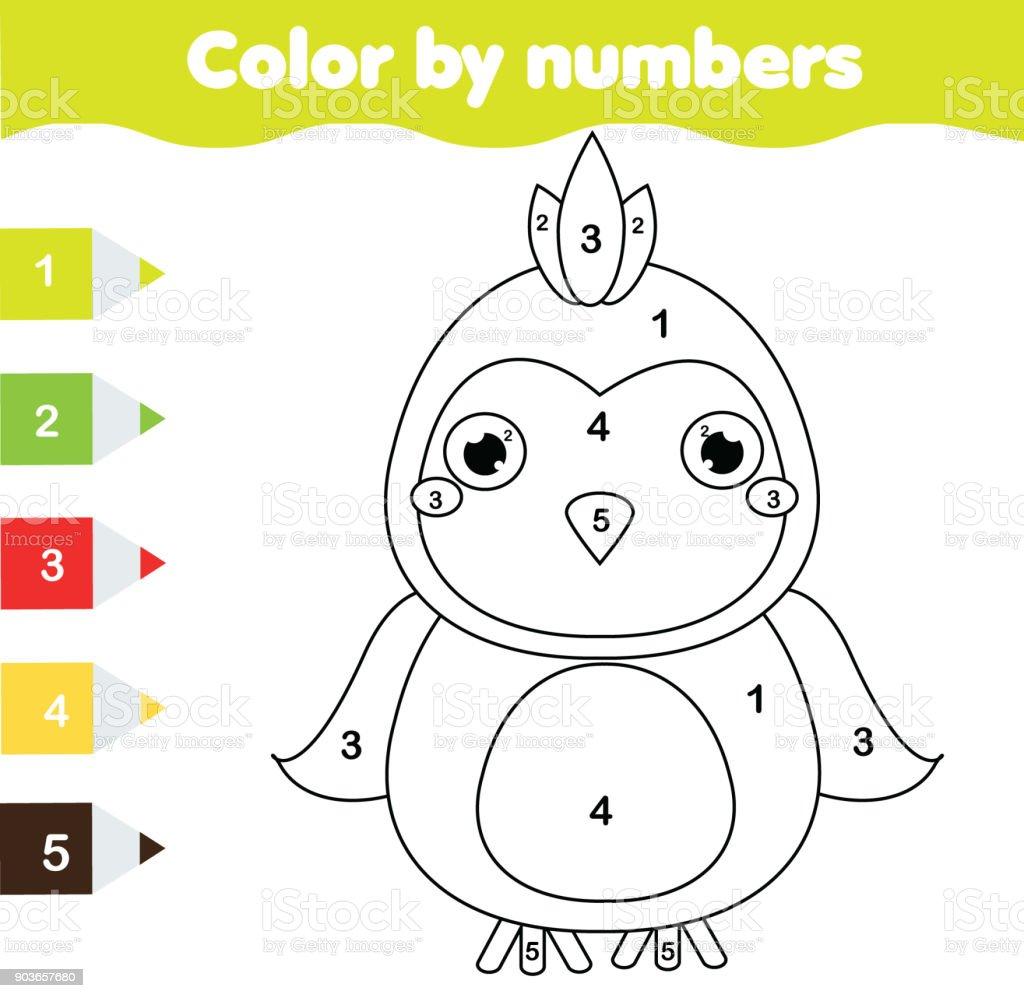 çocuk Eğitim Oyunu Papağan Ile Boyama Sayfası Sayılar Yazdırılabilir