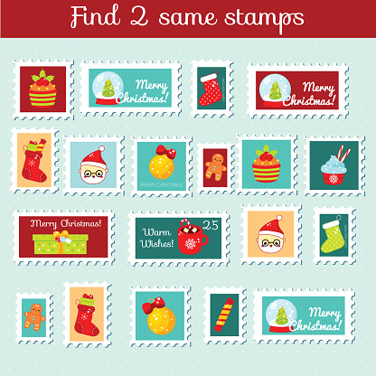 children educational game. Find the same pictures. Find two identical Christmas stamps. New year fun for kids and toddlers