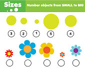Children educational game. Learning sizes from small to big