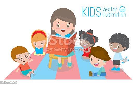 Children Reading Stock Vector Art More Images Of Baby: Children Enjoy Listening To Stories Teacher Reading Books