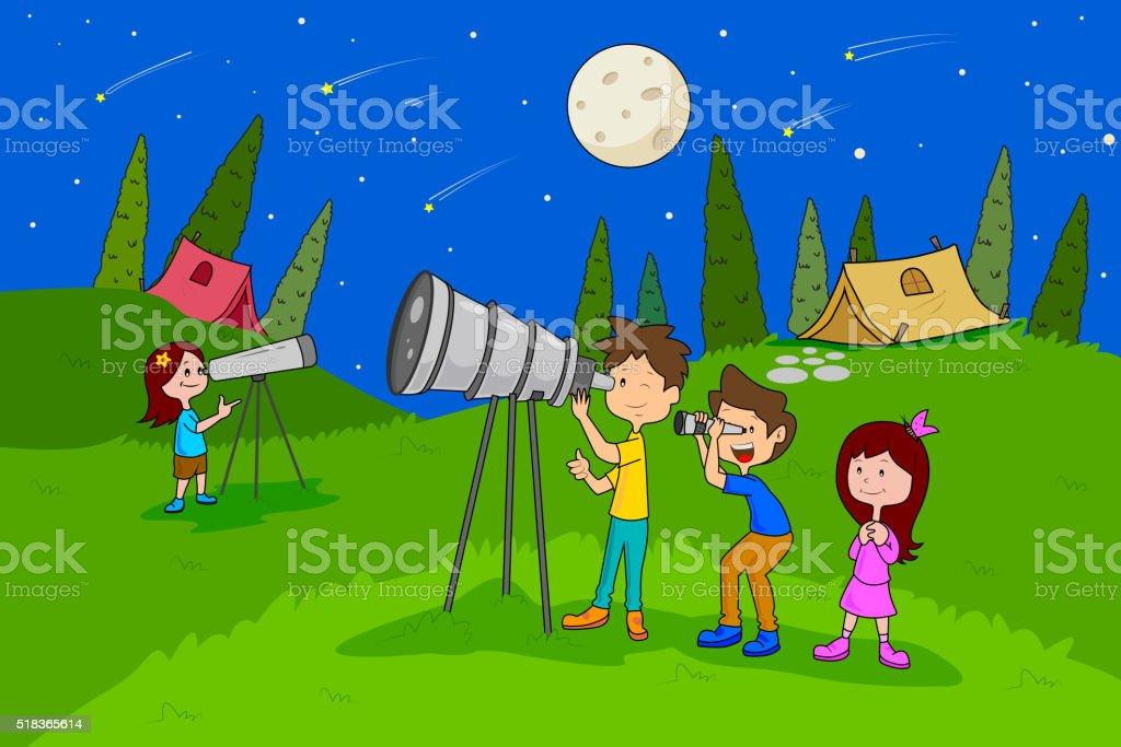 Children Enjoying Summer Camp Star Gazing Activities Stock ...