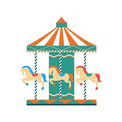 Children entertainment park carousel flat vector illustration isolated.