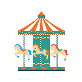 istock Children entertainment park carousel flat vector illustration isolated. 1193937863