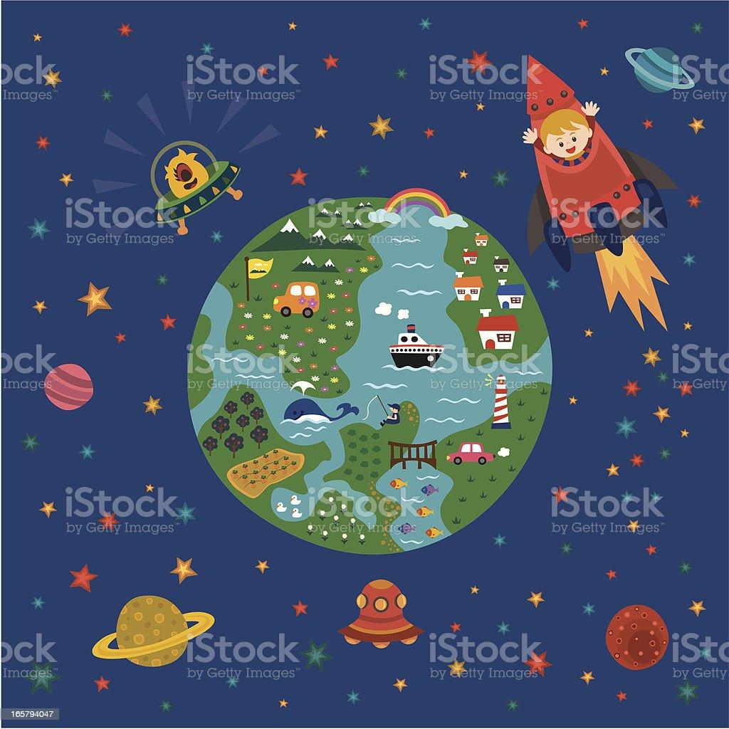 children explorer love  space and world vector art illustration