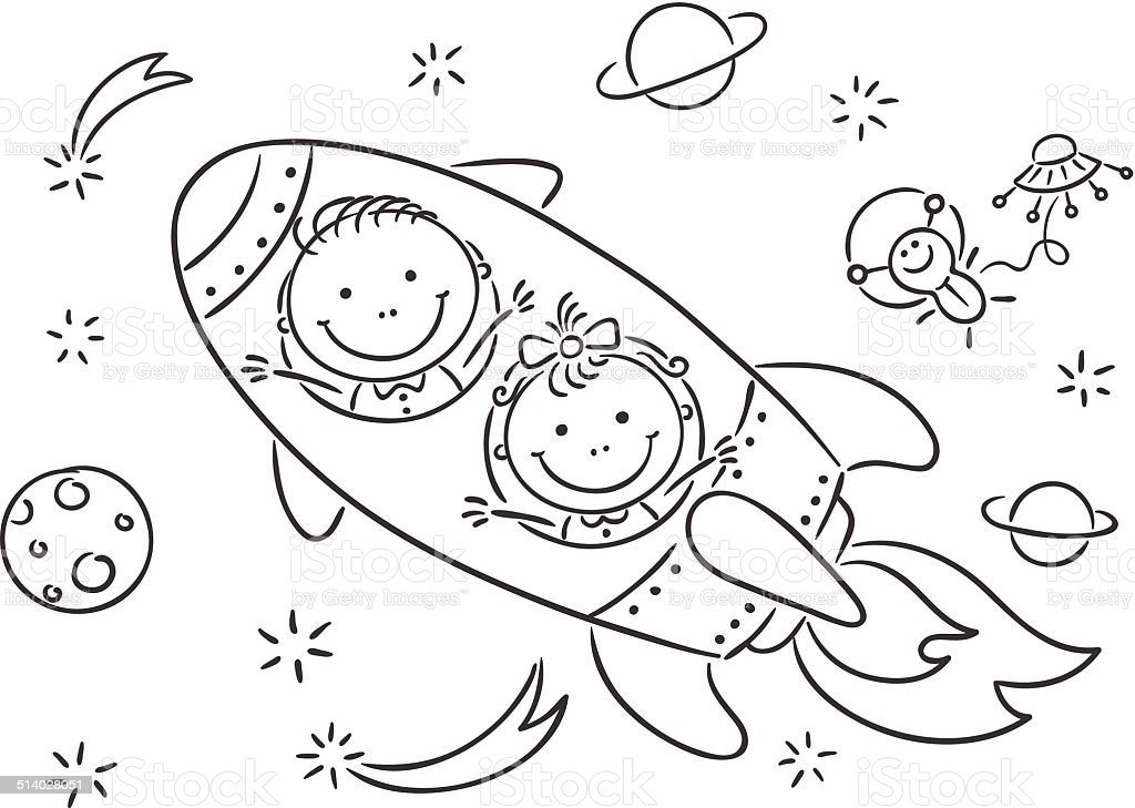 Children Exploring Space Stock Vector Art Amp More Images Of