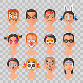 Children face painting set vector illustrations
