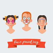 Children face painting vector illustrations