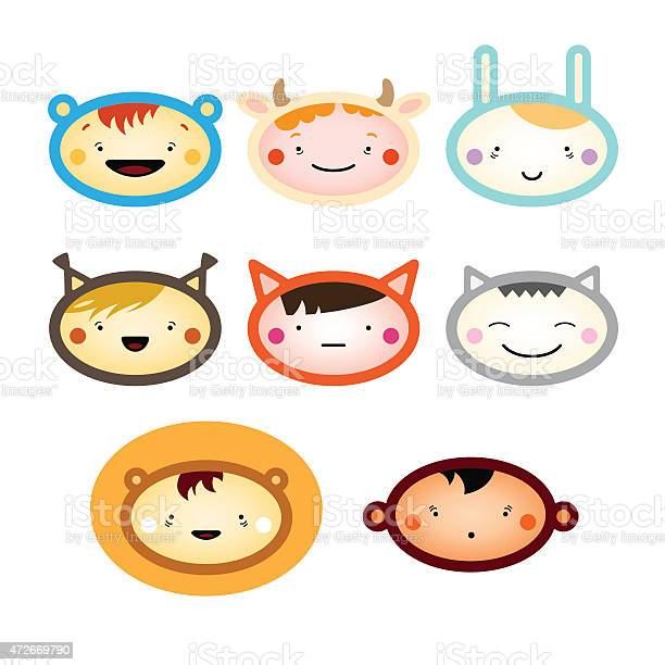 Children faces in animal costumes vector id472669790?b=1&k=6&m=472669790&s=612x612&h=ficq1qahs6evrxixvzodberw4n7vj8mdhrvp40vmbpg=