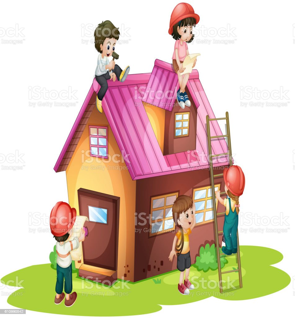 Children Fixing And Building House Stock Vector Art & More ...