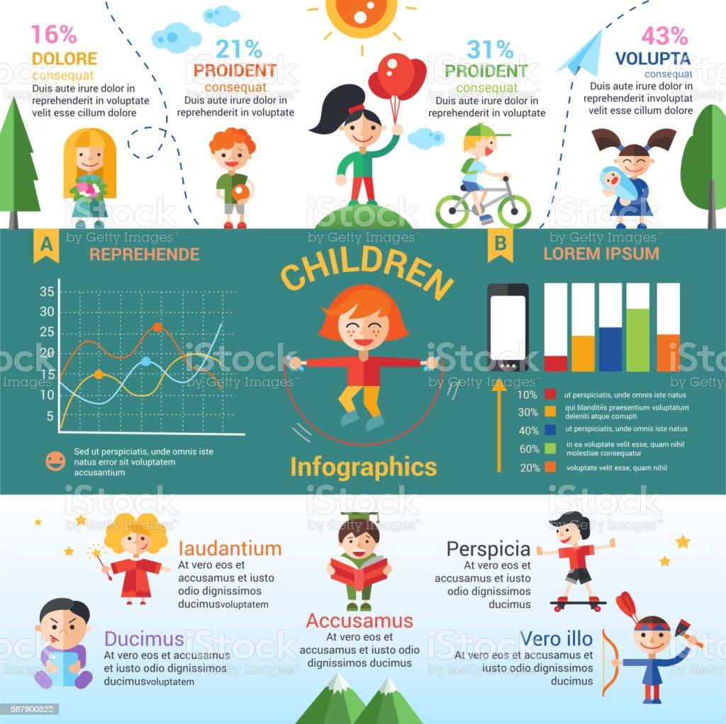 Children - flat design characters website banner - ilustración de arte vectorial