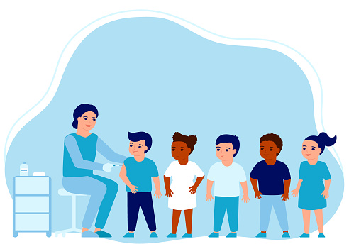 Children flu vaccine injections, kids vaccination. Doctor help immune system health. Prevention and treatment, flu shots, virus vaccinations. Health care, prevention, immunization in hospital. Vector