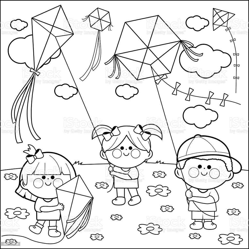 Children flying kites coloring book page. vector art illustration