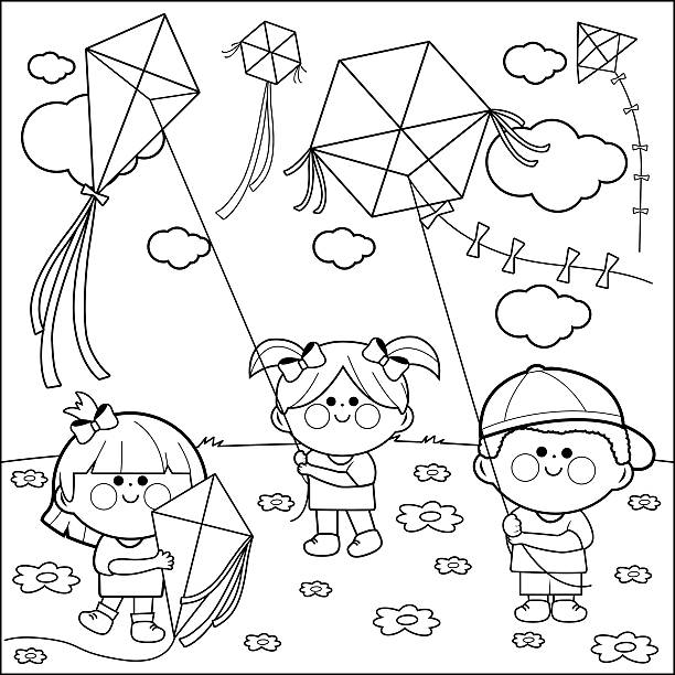 Children Flying Kites Coloring Book Page Vector Art Illustration