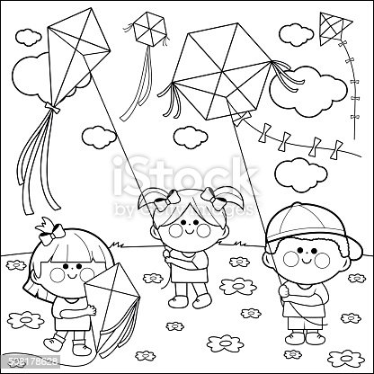 Children Flying Kites Coloring Book Page Stock Vector Art