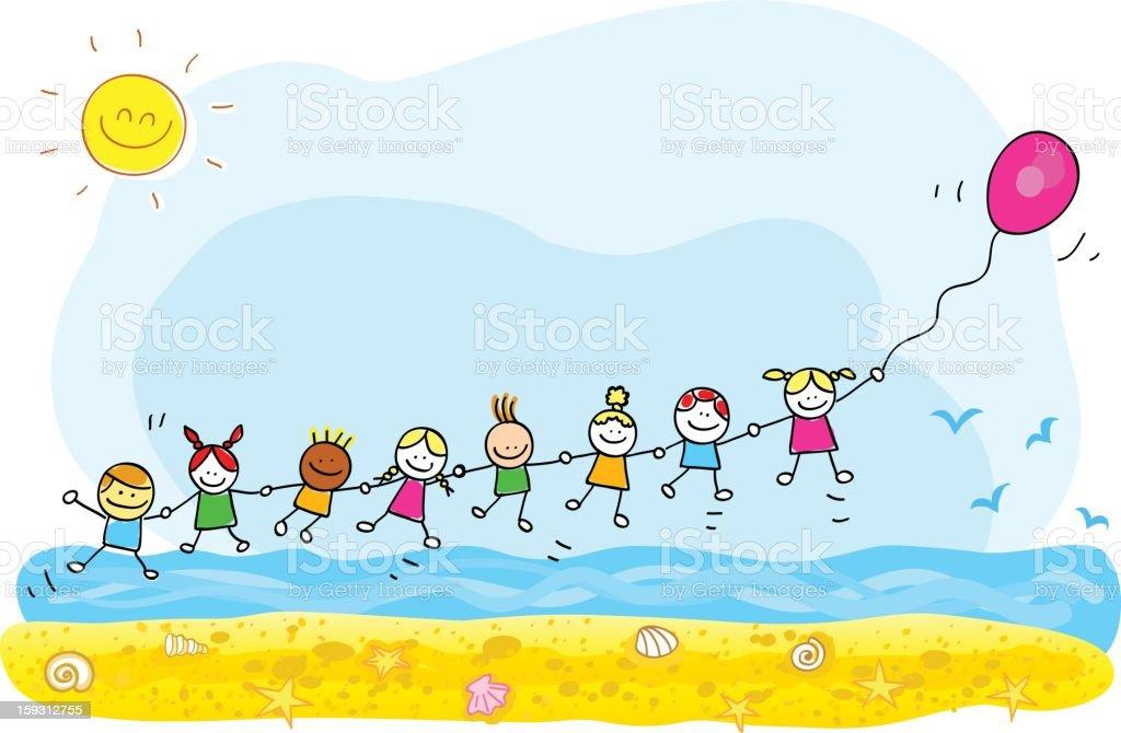 Enfants Voler Avec Des Ballons À La Plage Vacances À La Mer Cartoon  Illustration Vecteurs libres de droits et plus d'images vectorielles de  Amitié - iStock