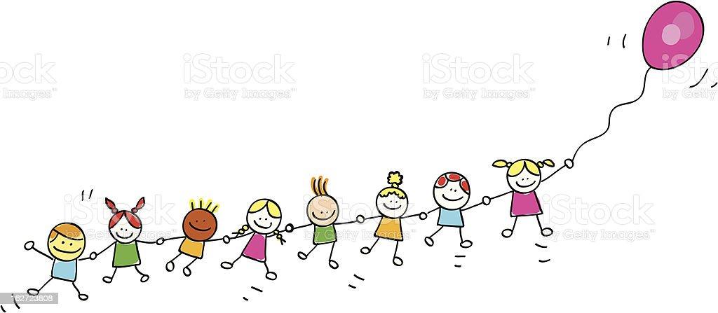 Ilustraci n de ni os volando con globos ilustraci n dibujo - Ninos en clase dibujo ...