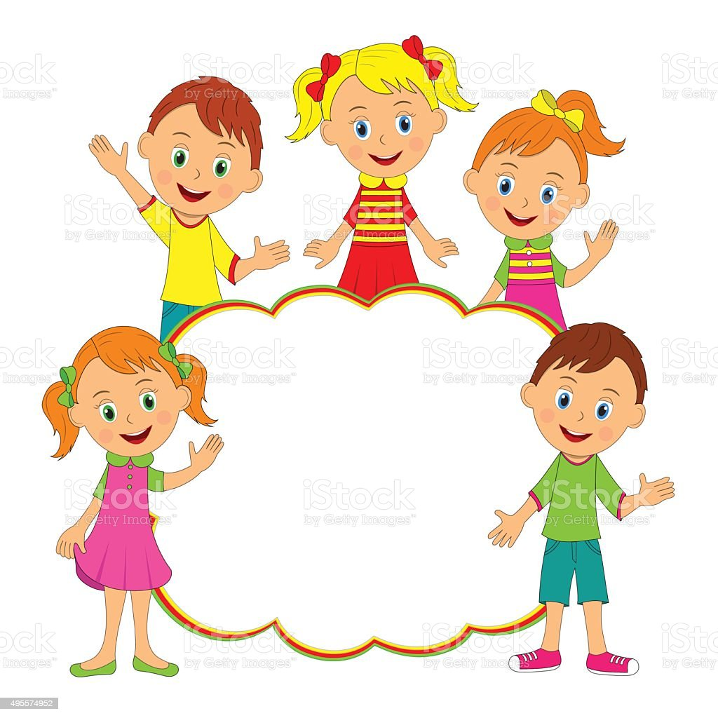 children frame kids boys and girls smiling and waving