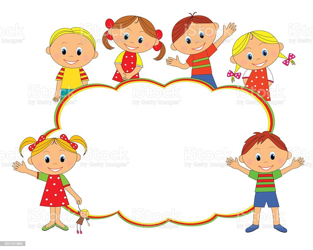 Children Reading Stock Vector Art More Images Of Baby: Children Frame Stock Vector Art & More Images Of 6-7 Years
