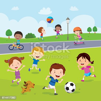 Vector illustration of happy kids playing and having outdoors activities.