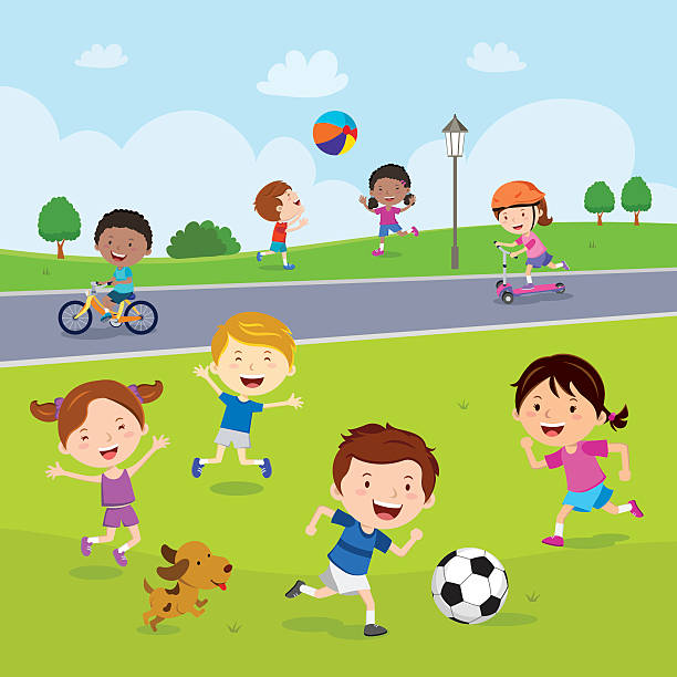 children fun in the park - cartoon kids stock illustrations, clip art, cartoons, & icons