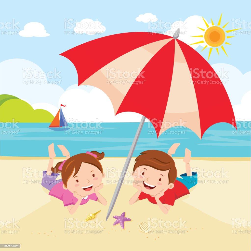 Children fun in the sun vector art illustration