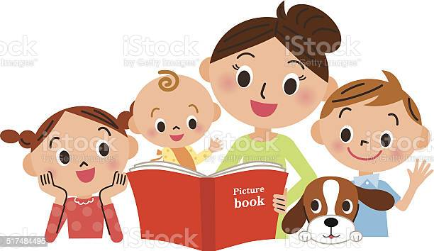 Children gathering for mother reading a picture book vector id517484495?b=1&k=6&m=517484495&s=612x612&h=owxfl4caqrkyi7tp8lbd66flh vzriihu6wcmx17vt4=